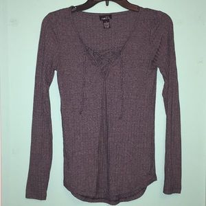 Grey Longsleeve with Lace Up Neckline